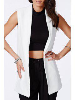 Turn-Down Collar Solid Color Waistcoat - White S
