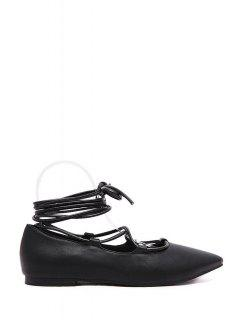 Lace-Up Pointed Toe Flat Shoes - Black 38