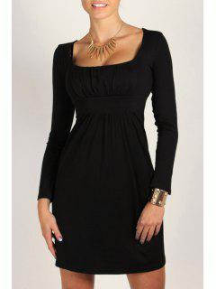 Square Neck Solid Color Long Sleeve Dress - Black L