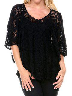V-Neck See-Through Lace Half Sleeve Blouse - Black L