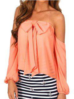 Strappless Bowknot Solid Color Long Sleeve Blouse - Jacinth S
