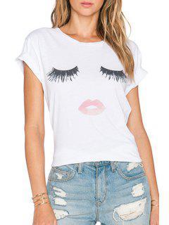 Short Sleeve Eyelash And Lip Print T-Shirt - White 2xl