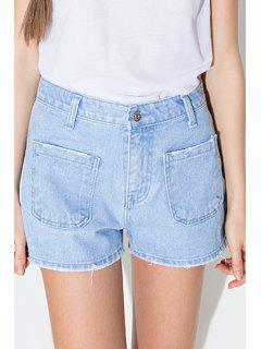 Blue Pocket Bleach Wash Denim Shorts - Blue L