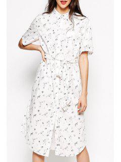 Shirt Collar Character Print Midi Dress - White 2xl