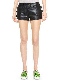 Black PU Leather Straight Leg Shorts - Black M