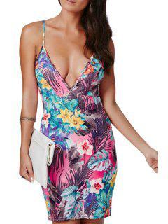 Spaghetti Strap Colorful Floral Printed Sleeveless Dress - Xl
