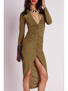 Long Sleeve Ruched Irregular Hem Bodycon Dress - Khaki S