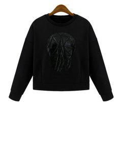 Jewel Neck Skull Pattern Long Sleeve Sweatshirt - Black S
