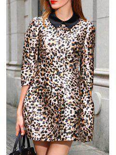 Turn-Down Collar Leopard Pattern 3/4 Sleeve Dress - Leopard L