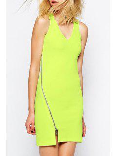 Zipper Embellished Neon Green Bodycon Dress - Neon Green Xl