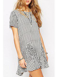 Plaid Loose-Fitting Fishtail Dress - White And Black M