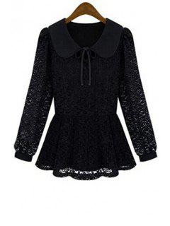 Peter Pan Collar Tie-Up Lace Blouse - Black L
