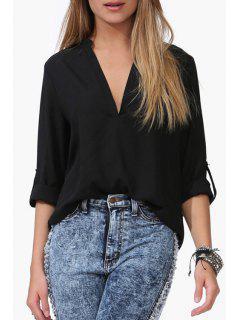 Rolled Sleeve Loose-Fitting Chiffon Shirt - Black 2xl