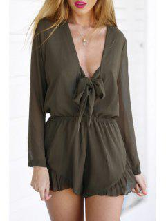 Ruffled Plunging Neck Long Sleeve Playsuit - Brown S