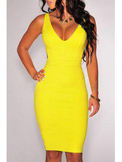 V Neck Solid Color Backless Dress - Yellow L