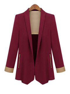 Color Block Shawl Collar Long Sleeve Blazer - Wine Red L