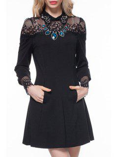 Turn-Down Collar See-Through Lace Splicing Dress - Black M