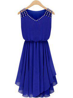 Diamante V Neck Sleeveless Chiffon Dress - Sapphire Blue Xl
