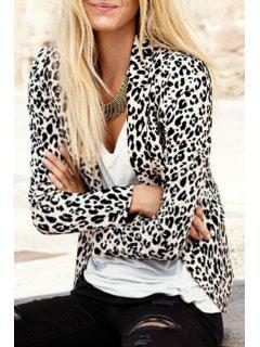 Leopard Lapel Neck Long Sleeve Blazer - Leopard Xl