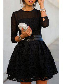 Black Lace Splicing Long Sleeve Dress - Black Xl