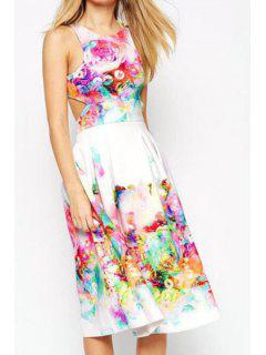 Sleeveless Crop Top And Floral Skirt Suit - White Xl