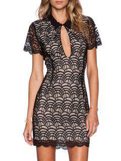 Keyhole Neckline Lace Spliced Bodycon Dress - Black L
