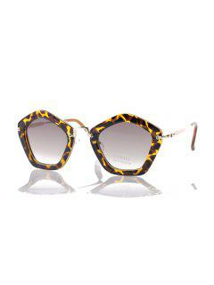 Leopard Pentagonal Frame Sunglasses - Deep Brown