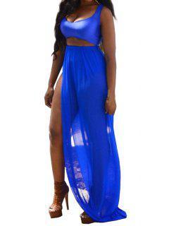 Solid Color Crop Top + High Slit Skirt - Blue L