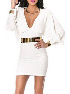 Long Batwing Sleeve White Bodycon Dress - White L