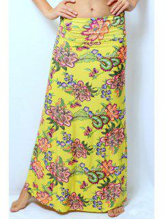 Colorful Floral Print Skirt - Yellow Xl