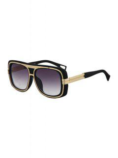 Metal Inlay Matte Black Frame Sunglasses - Black