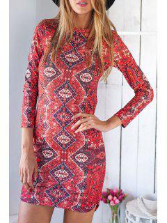 Ethnic Print Irregular Hem Bodycon Dress - Red L