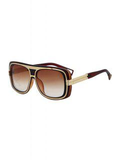 Metal Inlay Full Frame Sunglasses - Tea-colored