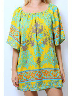 Slash Neck Color Block Printed Half Sleeve Dress - L