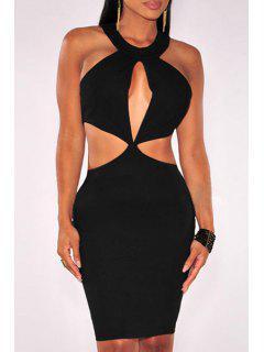 Hollow Out Sleeveless Bodycon Dress - Black