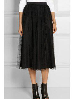Mesh Spliced High Waisted A Line Skirt - Black