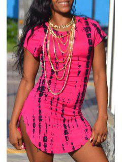 Print Short Sleeve Bodycon Dress - Rose