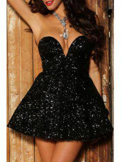 Black A Line Sweetheart Neck Dress - Black M