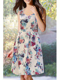 Floral Print Fit And Flare Midi Dress - White L