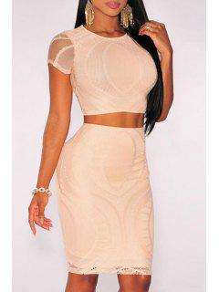Solid Color Crop Top And Bodycon Skirt Suit - Apricot