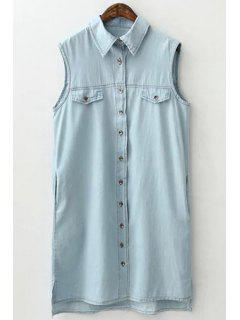 Light Blue Shirt Neck Sleeveless Dress - Light Blue S