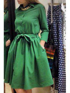 Turn-Down Collar Solid Color Belt Dress - Green S