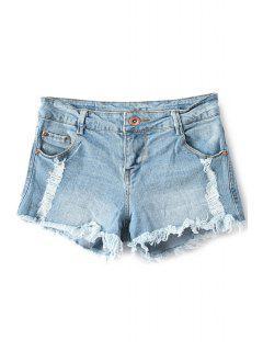 Broken Hole Low Waisted Denim Shorts - Light Blue 40