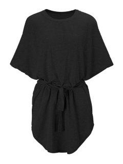 Batwing Sleeve Solid Color Loose-Fitting Dress - Black S