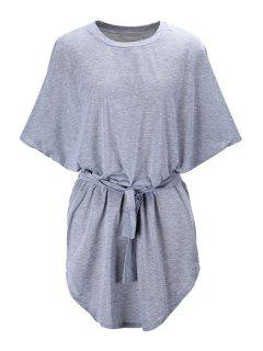 Batwing Sleeve Solid Color Loose-Fitting Dress - Gray 2xl