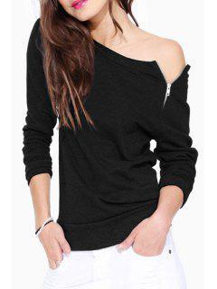 Boat Neck Zipper Embellished Long Sleeve Sweatshirt - Black M