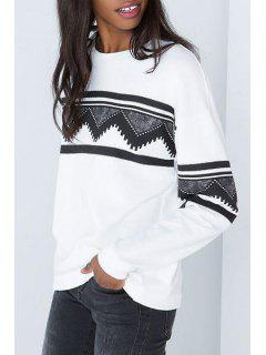Long Sleeve Geometric Print White Sweatshirt - White L