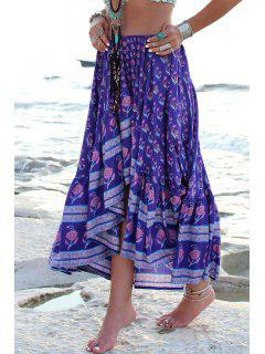 Asymmetrical Floral Print Skirt - Deep Purple M
