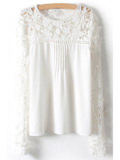 Crochet Flower Splicing Long Sleeves Blouse - Blanc S