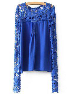 Crochet Flower Splicing Long Sleeves Blouse - Blue Xl